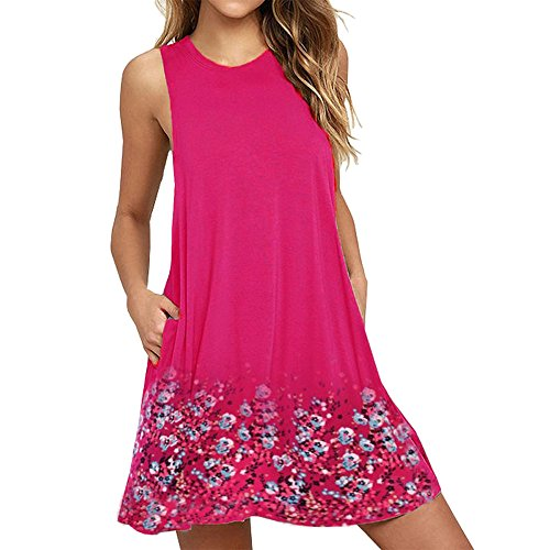 (◣〓Spring color〓◢ Women's Sleeveless Solid Floral Print Tunic Tank Dress Casual Swing T-Shirt Dresses Hot Pink)