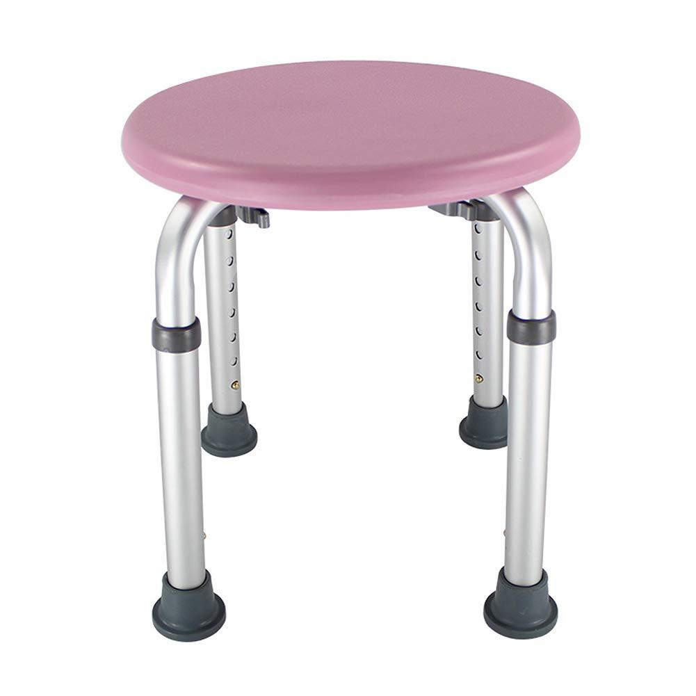 Ai Shower Chair, Adjustable Bathroom Anti-skid Seat, Round Bathtub, Pregnant Woman Flush Chair (Color : Pink)