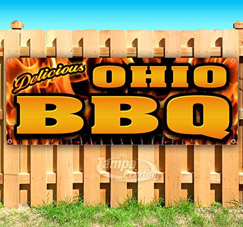 Ohio BBQ 13 oz Heavy Duty Vinyl Banner Sign with Metal Grommets, New, Store, Advertising, Flag, (Many Sizes Available)