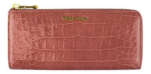 MIU MIU By PRADA Pink Embossed Crocodile Leather Continental - Prada Miu Miu