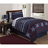 5 piece Navy Blue Burgundy Stars and Stripes Pattern Comforter with Sheets Twin Set, Beautiful Patriotic Love Geometric Stripes-Inspired Design, Plaid Print Reversible Bedding, Bold Colors, Microfiber