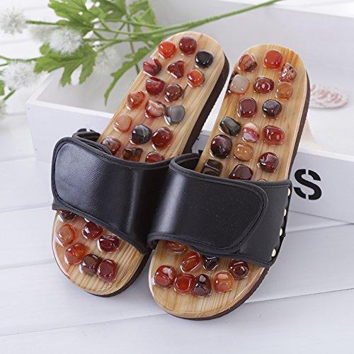 Qingchunhuangtang@ Home Pressione del Dito Massaggio Massaggio Massaggio Scheda Pantofole Acupoint Health Care Pantofole Interne,Trentasette,Nero 5ff803