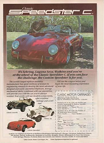 Magazine Print Ad: 1982 Classic Motor Carriages offer for Porsche Speedster C-Replica-Replicar-Kit Car, also Mercedes-Benz Gazelle, MG-TG, Classic Speedster,