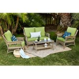 Quality Outdoor Living 65-514297 Greenport All-Weather 4 Piece Deep Seating Set, Brown Wicker + Green Cushions