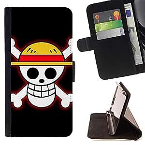 BullDog Case - FOR/Samsung ALPHA G850 / - / Funny Sunny Skull /- Monedero de cuero de la PU Llevar cubierta de la caja con el ID Credit Card Slots Flip funda de cuer