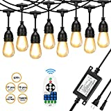 CHNXU [Upgraded] 57ft LED Outdoor String Lights Waterproof with DC 24V Low Voltage Transformer and Remote Control Dimmer,15+2spare LED Hanging Vintage Bulbs for Decorative Patio Backyard - Warm White