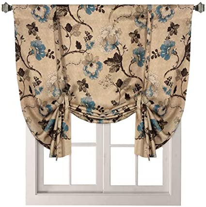 H.VERSAILTEX Thermal Insulated Blackout Window Drapes Adjustable Tie Up Shade Rod Pocket Curtain for Kitchen – 42 Wide by 63 Long – Vintage Floral in Taupe Brown Aqua 1 Panel