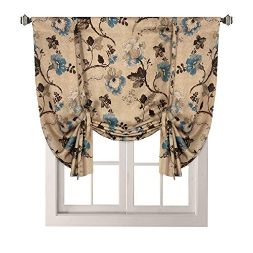 H.VERSAILTEX Thermal Insulated Blackout Window Drapes Adjustable Tie Up Shade Rod Pocket Curtain for Kitchen - 42