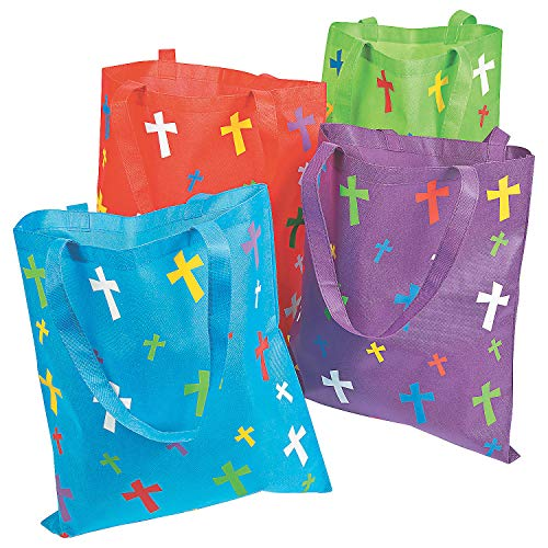Christian Religious Tote Bag - Fun Express Religious Polypropylene Tote Bags with Crosses | 12 Count | Great for Reusable Grocery Shopping Bag, Event Giveaways