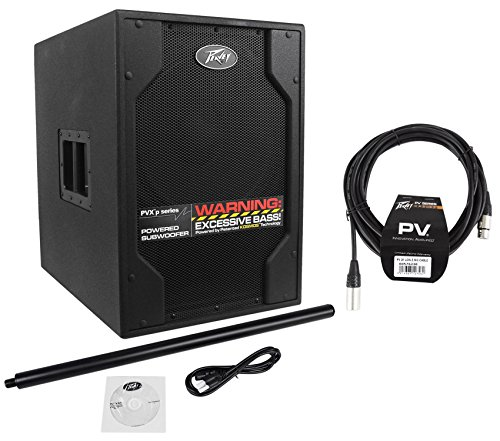 Package: Peavey PVXp Sub 15'' 850 Watt Powered DJ/PA Live Subwoofer with Fully Adjustable KOSMOS C for Increased Bass Impact, and Forced Air Cooling + Peavey PV 20' XLR Female to Male Low Z Mic Cable by Peavey