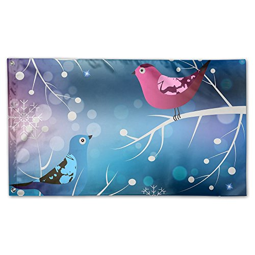 BINGOGING FLAG Decorative House Flags - Winter With Birds Ou
