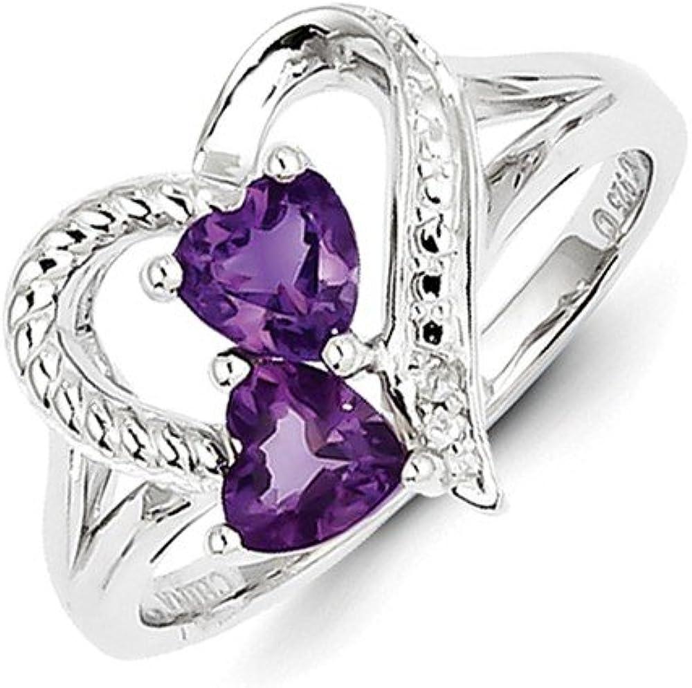 Goldia Sterling Silver Natural Amethyst Natural Diamond Ring