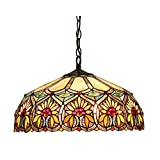 Chloe Lighting CH33453BF18-DH2 Sunny Tiffany-Style Floral 2-Light Ceiling Pendant with Fixture, 18-Inch Shade