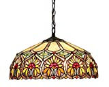 Chloe Lighting CH33453BF18-DH2 Sunny Tiffany-Style Floral 2-Light Ceiling Pendant with Fixture with Shade - 8.7 x 17.7 x 17.7