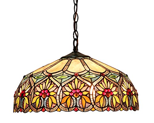 (Chloe Lighting CH33453BF18-DH2 Sunny Tiffany-Style Floral 2-Light Ceiling Pendant with Fixture with Shade, 8.7 x 17.7 x 17.7