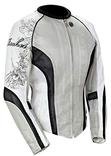 - Joe Rocket Cleo 2.2 Women's Mesh Motorcycle Riding Jacket (Silver/Black/White, X-Large)
