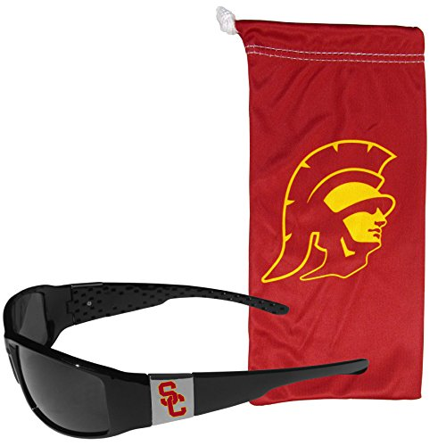 NCAA USC Trojans Chrome Wrap Sunglasses and Bag, Adult Size, - Sunglasses Usc