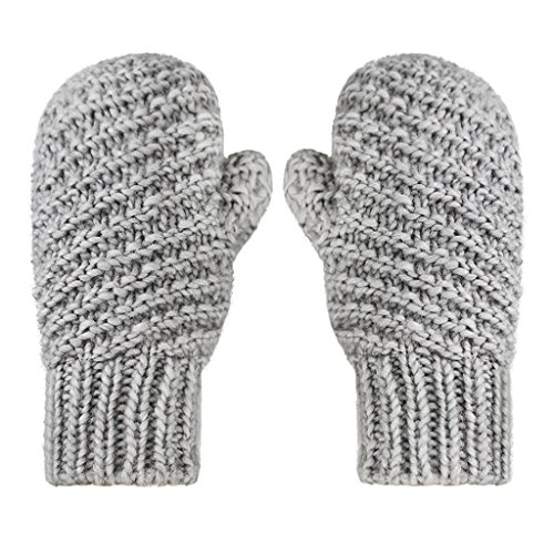 (Woman Men Winter Cable Knit Mitten Gloves Thermal Polar Fleece Lined Warm)