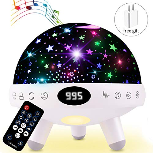 Night Light for Kids Star Projector with Music White Noise Sound Machine Baby Sleep Soother Nursery Bedside Lamp 9 Natural Sounds 20 Lullabies Remote Control Adapter Timer (Baby Light Sound Projector)