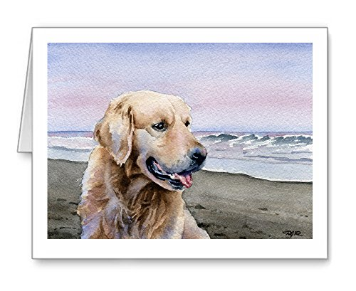 Golden Retriever at the Beach - Set of 10 Note Cards With Envelopes ()