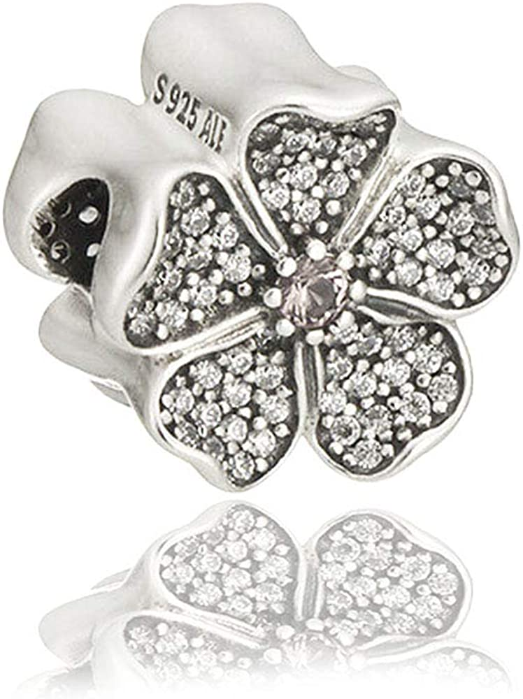 Sparkling Apple Blossom Authentic 925 Sterling Silver Bead Charm Fits Pandora Charm Bracelet DIY Crafting