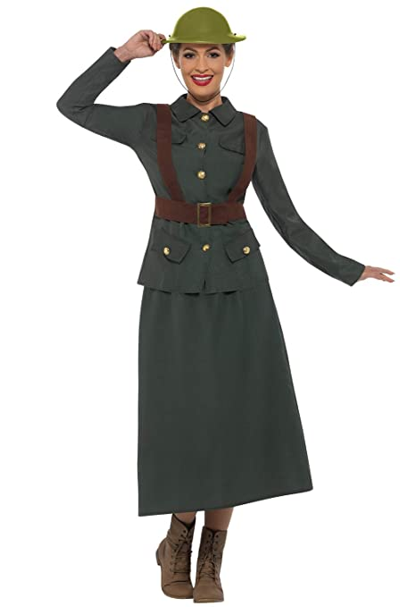 1940s Costumes- WW2, Nurse, Pinup, Rosie the Riveter Smiffys WW2 Army Warden Lady Adult Costume-Small Green $55.79 AT vintagedancer.com