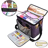 "Teamoy Knitting Bag, Yarn Tote Organizer with Inner Divider (Sewn to Bottom) for Crochet Hooks, Knitting Needles(up To 14""), Project and Supplies, High Capacity, Easy to Carry--No Accessories Included"