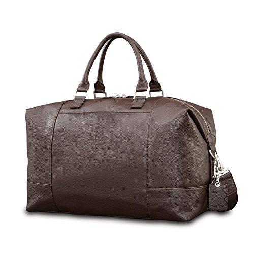 Samsonite Mens Leather Classic Weekender Dark Brown