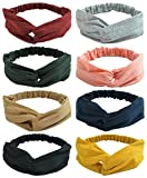 Women and Little Girl's Stretchy Headbands Teens Cross Hairband for Fashion Shampoo Sports 8 Pack (Head 53-62CM)