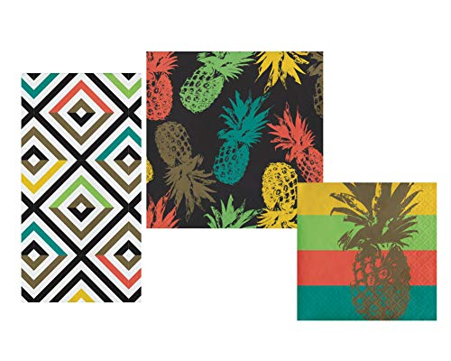 Cuban Inspired Theme Napkins Set - Bundle Includes Guest Napkins/Towels, Lunch Napkins, and Beverage Napkins in Bold Colorful Havana Designs by Elise