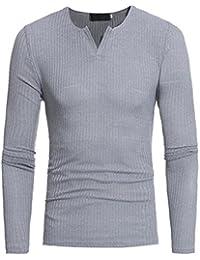 Men's Autumn Long Sleeve V-Neck Slim Fit Stretch Knit Sweaters