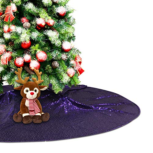 Eternal Beauty Purple Sequin Tree Skirt 50Inch Christmas Tree Skirt Embroidered Sparkly Xmas Tree Ornament Christmas Decoration (And Tree B Xmas Q)