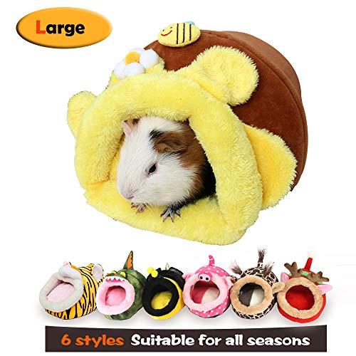 MYIDEA Warm Guinea Pigs Bed,Hedgehog Winter Nest,Rat Chinchillas & Small pet Animals Bed/Cube/House, Habitat, Lightweight, Durable, Portable, Cushion Big Mat (Small Pet – L, Honey Jar)