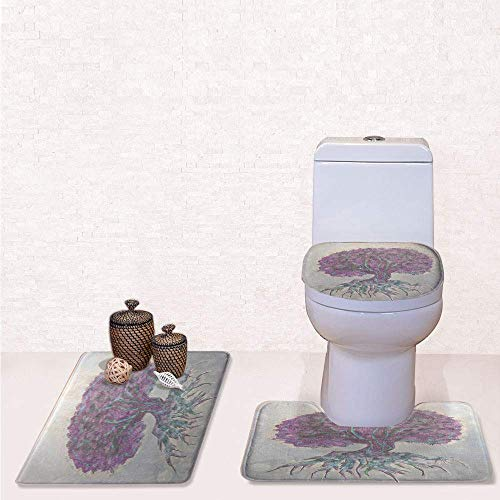 (Print 3 Pcss Bathroom Rug Set Contour Mat Toilet Seat Cover,Watercolors Style Print of Old Plant with Bokeh Lights Majestic Roots Nature with Grey Purple,decorate bathroom,entrance door,kitchen,bed )