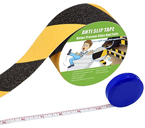 Anti Slip Tape , High Traction,Strong Grip Abrasive , Not Easy Leaving Adhesive Residue , Indoor & Outdoor, with Measuring Tape (2 Width x 190 Long, Hazard - Black and Yellow)