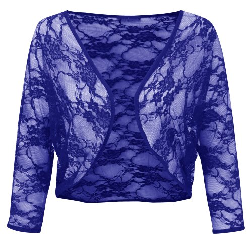 misure floreale Nuovo Plus le motivo L XXL pizzo coprispalle Blue donna dimensioni Bolero a donna da XwqrXS0