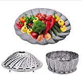 RKPM Stainless Steel Collapsilble Steamer & Multipurpose Basket Fruits Vegetables, Adjustable To Fit Container, Water Drainer, Kitchen Utensils, Modak Food Boiler Cooker 6.3' to 10.3'