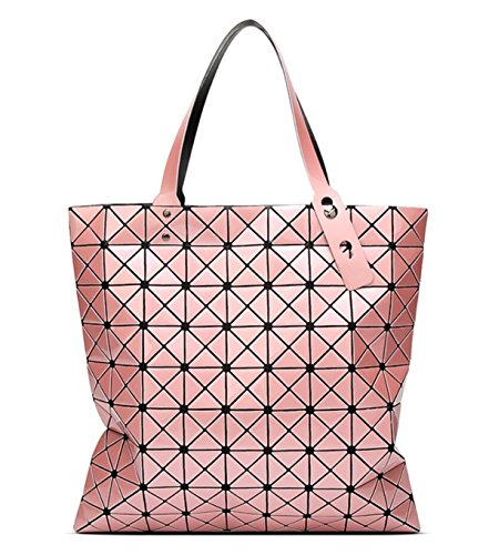 Kayers Sulliva Womens Fashion Geometric Plaid Tote Bag PU Leather Shoulder Bag Top-handle Handbags Large Pink