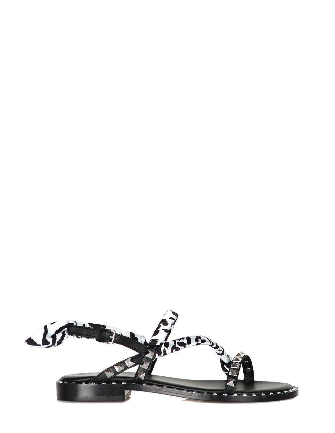 ASH: Sandali neri con borchie e dettaglio foulard|1011831