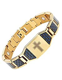 Willis Judd Two Tone Titanium Magnetic Bracelet with Christian Cross and Blue Carbon Fiber with Link Removal Tool and Gift Box