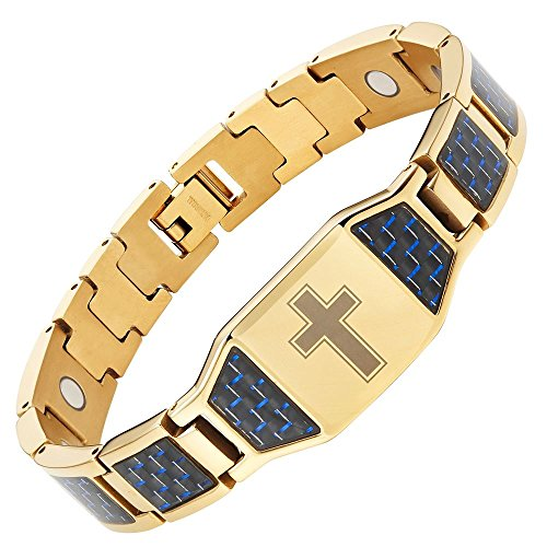 Willis Judd Men's Two Tone Titanium Magnetic Bracelet with Christian Cross and Blue Carbon Fiber ()