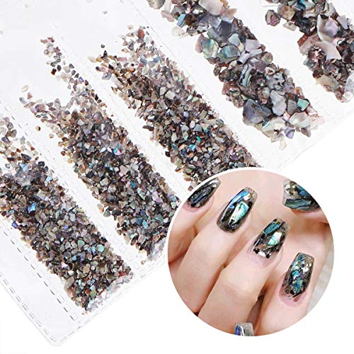 (Nail Art Decor Accessories Nail Rhinestones Premium Manicure Crafts Tools DIY Gems Stones Shell Shape 6 Pack )