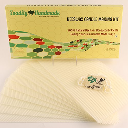 Make Your Own Beeswax Candle Kit - Includes 10 Full Size 100% Beeswax Honeycomb Sheets and Approx. 6 Yards (18 Feet) of Cotton Wick. Each Beeswax Sheet Measures Approx. 8' x 16 1/2'.