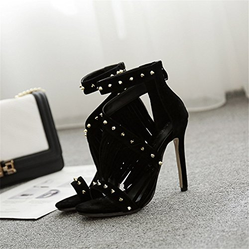 High Sandals Sandals Heel Strap Sexy stylish Tassels Rabbit Black Decorate Ankle Heeled Lovely Sandals Rivet Lady Stiletto ZzTqBvw