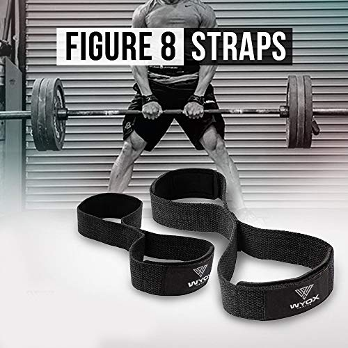 Wyox Figure 8 Weight Lifting Straps Gym Fitness Cross fit Bodybuilding Neoprene Wrist Support ()