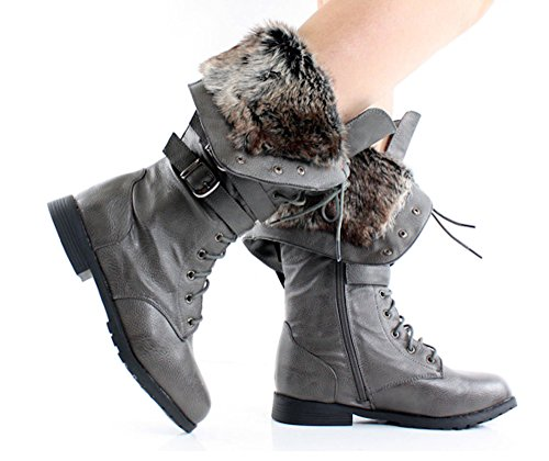 Women's Grey Winter Up Boots High Gray Khaki Black White Tan Knee in Faux Fur Lace Brown ZqrZW1