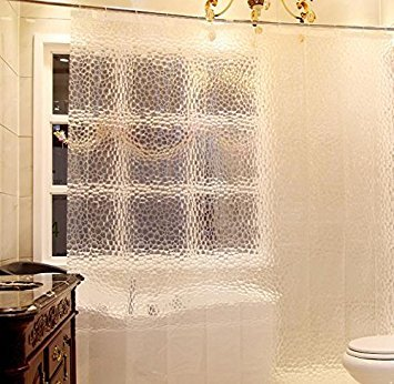 Eforcurtain Extra Long Semi Transparent 3D Cube Shower Curtain Liner Anti Water 72 By 78 Inches