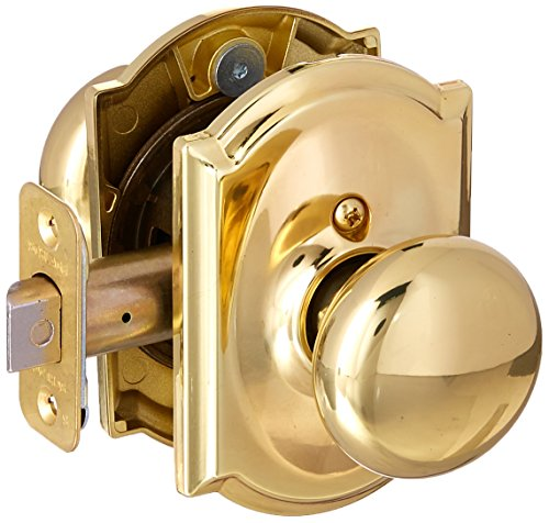 - Schlage Lock Company F10PLY605CAM Polished Brass Passage Plymouth Door Knobset