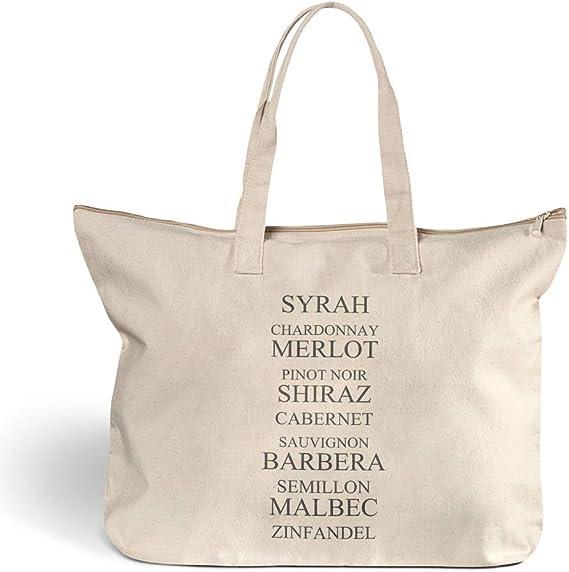 Canvas Beach Tote Chardonnay Merlot Pinot Noir Shiraz Wine Shopping Bags