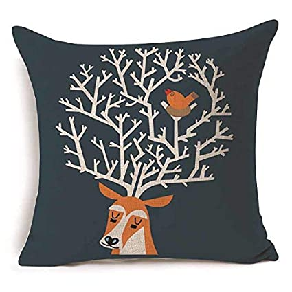 Amazon.com: 1Pcs 4545cm Deer Pattern Cotton Linen Throw ...